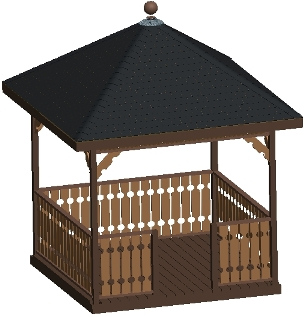 10 ft Square Gazebo Plan, Hip Roof