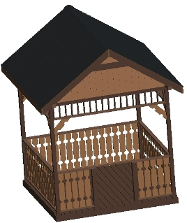 10 ft Square Gazebo Plan, Gable Roof