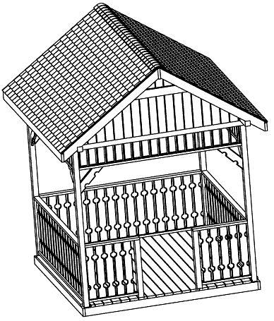 10 ft Square Gazebo Plan, Gable Roof