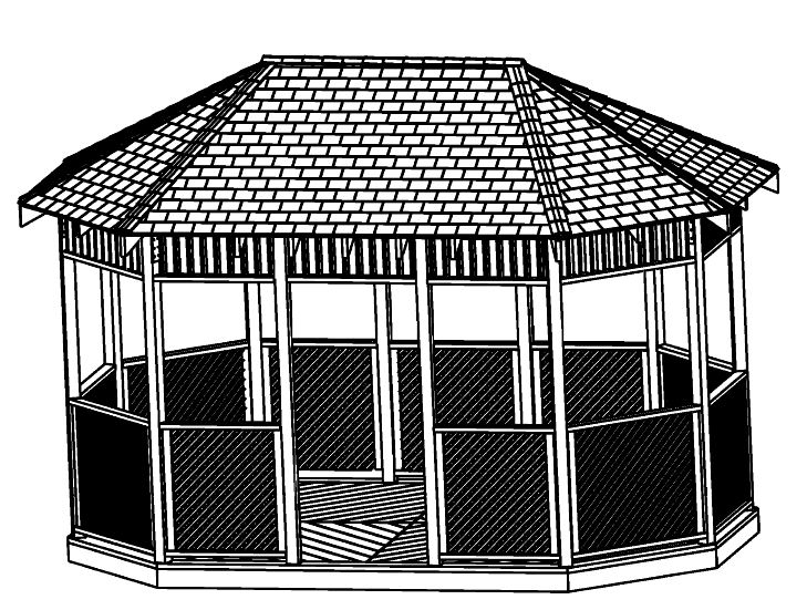10x16 Octagon Gazebo Plan