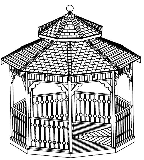 High end design gazebo plans 10x16 hexagon gazebo plans for Hexagonal roof framing