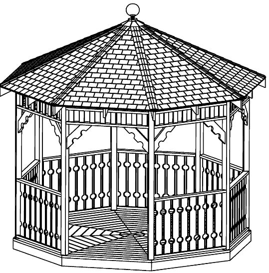 Beginner design gazebo plans 12ft square gazebo hip roof for Octagon deck plans free