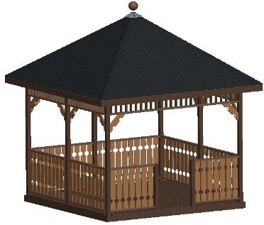 Beginner design gazebo plans 12ft square gazebo hip roof for Easy to build gazebo